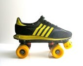 Reserved - 1970s sneaker roller skates - adidas style nylon/leather in black/yellow stripes - size 9.5 mens