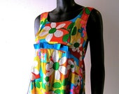 60s mod flower print dress empire bust - Hilda of Hawaii size 2 or 4 - Mad Men resort chic -  Palm Beach pop - 1960s fashion