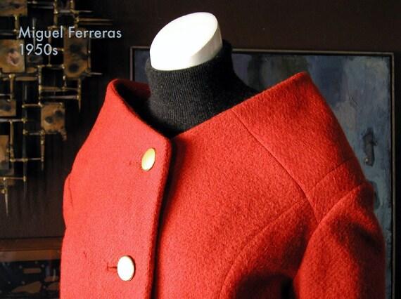 1950s CUBA Miguel Ferreras wool mohair cavalry twill jacket\/ unique couture construction\/ Balmain Balenciaga Dior influence\/ rare find for fashion collector