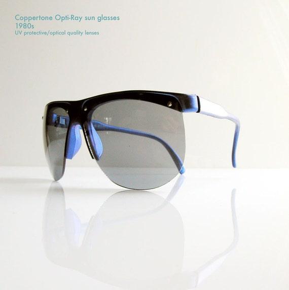 Reserved - designer sunglasses Coppertone Opti Ray - 1980 beach chic - oversized blue lenses - UV protection