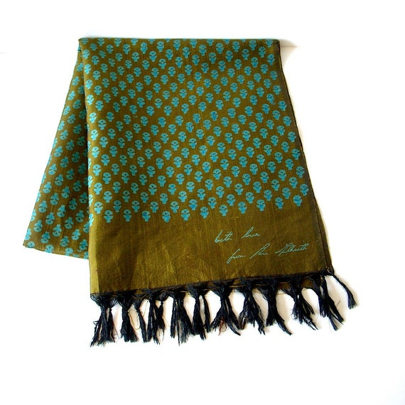 60s silk batik scarf/ teal blue pattern on irridescent bronze green background/ Jim Thompson style/ Thai Silk Co style