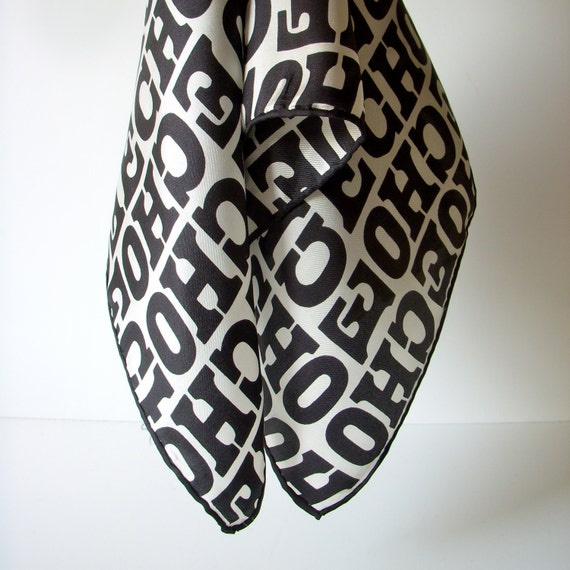 70s Echo silk scarf - black and white with red logo - hand rolled edge - designer silk scarf 1970s