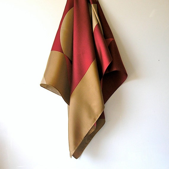 Vittadini mod graphic silk scarf - large size - taupe and claret - designer fashion - 80s 90s spring summer chic