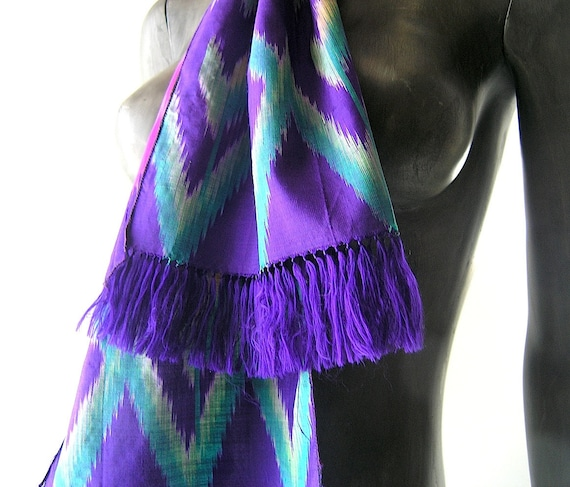 Reserved - silk ikat print scarf in purple teal peacock blue and pink - high design luxury quality - spring summer evening glam