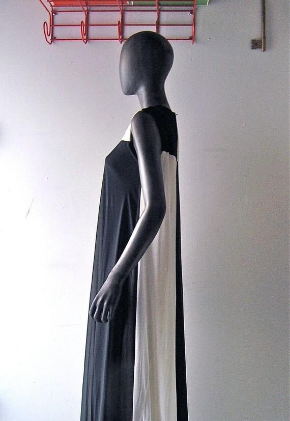 60s mod gown- 1966 black and white ball - grecian silhouette - checker board color block - Mad Men glam