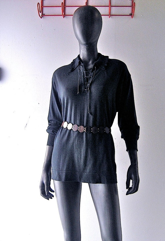 80s Claude Montana designer shirt - black summer cotton western style top - size large - French 80s fashion