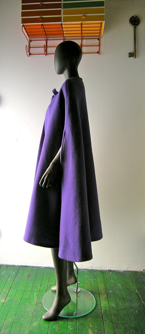 reserved - 60s wool cape - purple amethyst wool 60s Mad Men fashion - evening chic - royal purple robins egg blue interior n chic