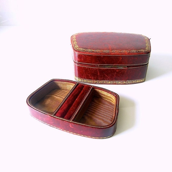 antique leather jewelry box - claret red and gold satin moire interior - made Italy - 1950s vanity table chic