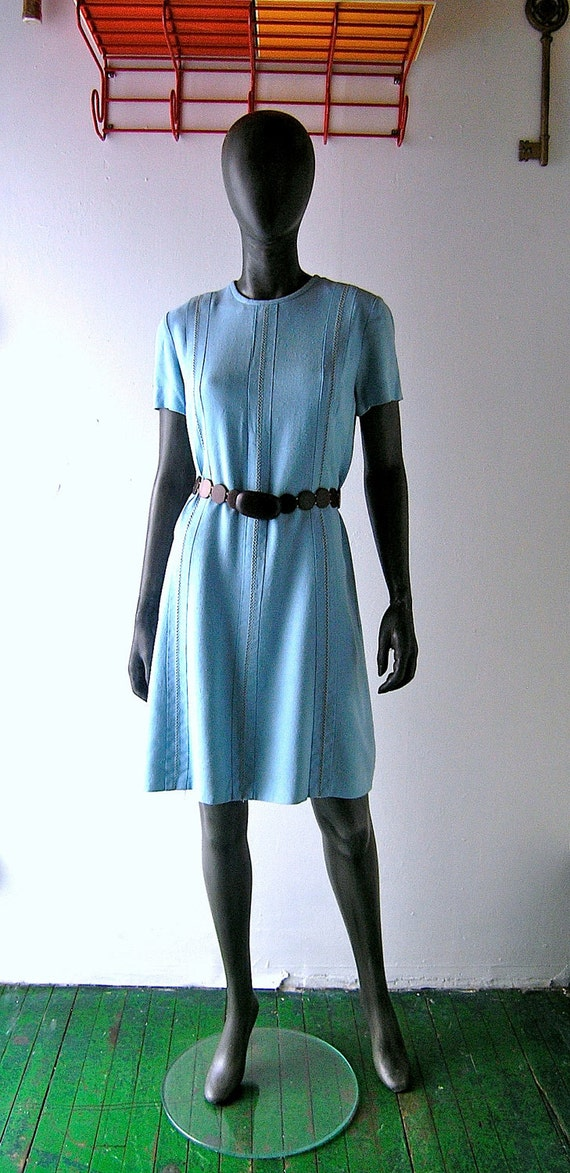 60s blue linen summer dress - A Line shift -  Mad Men Meghan - Tudor Square - size 6/8 - Best & Company New York store label