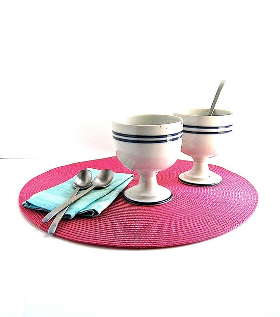 Dansk ice cream cups - Danish modern dessert table - set 4 - off white striped porcelain -holiday dining chic