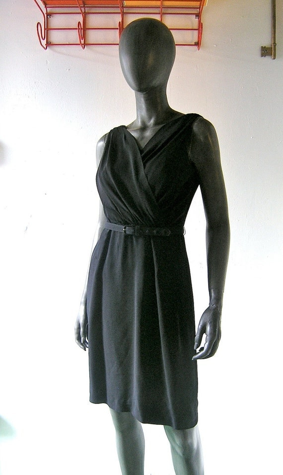 60s black crepe cocktail dress - Grecian style Audrey Hepburn chic - Mad Men little black dress - size 6 or 8 - Breakfast at Tiffany's