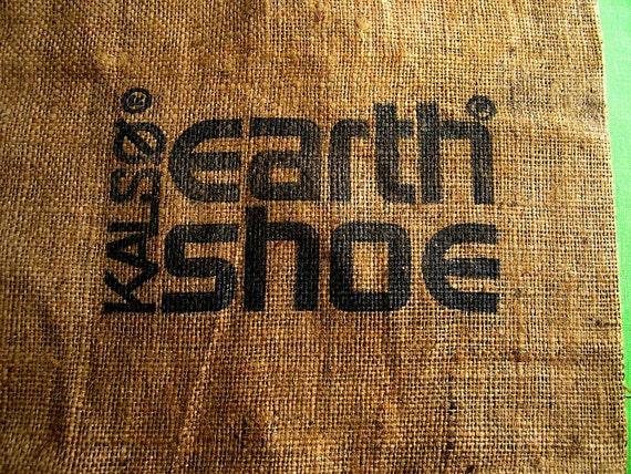 70s Kalso Earth Shoe burlap bag - 1970s fashion zap - where are my Earth Shoes