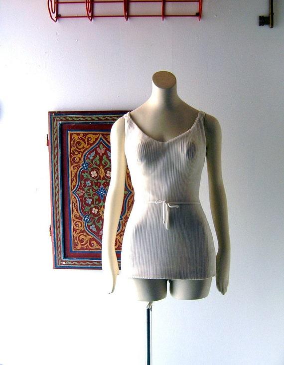 60s Mad Men chic Ban Lon Dartex swim suit - white maillot one piece - Marilyn Monroe pinup chic - Jantzen style