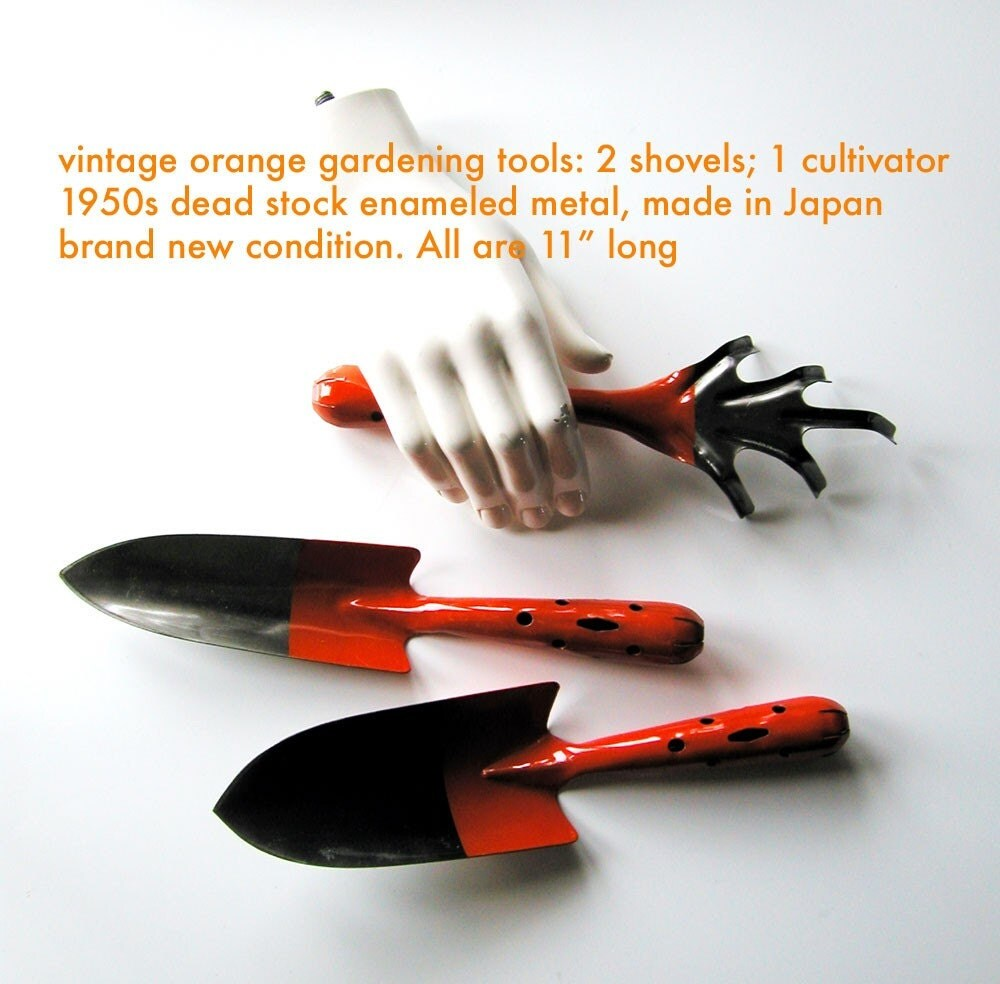 Vintage garden tools 1950s in bright orange gloss super chic for Gardening tools vintage