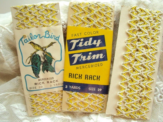 vintage rick rack in white and yellow and black - 2 pkgs and extra