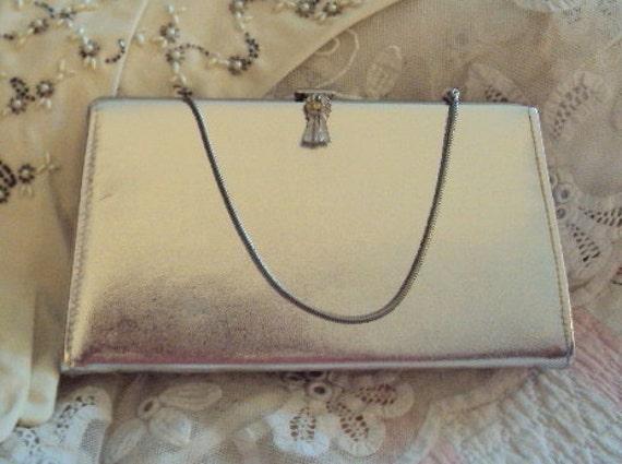 Vintage Silver Clutch - 1950s Retro Clutch Bag Handbag Purse