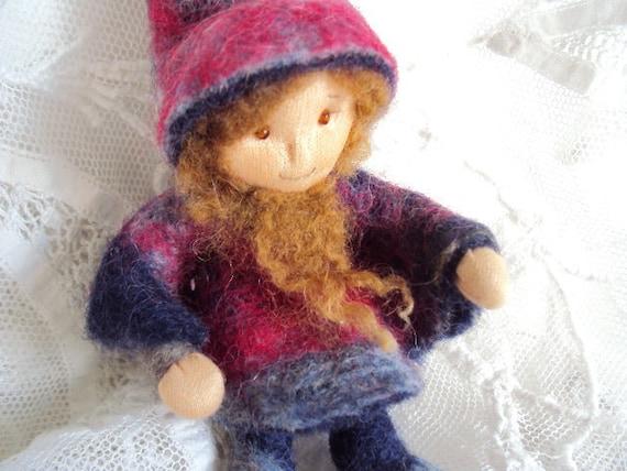 Vintage Gnome Doll, felted wool handmade native of Bern, Switzerland
