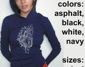 Human Heart Hooded Long Sleeve T-Shirt, American Apparel Hoodie with Water Based Ink