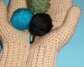 Convertible Fingerless Gloves or Mittens in Cream, Beige Glittens, Womens Mittens