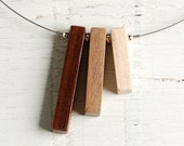 Reclaimed Wood Necklace // Handmade Redwood, Walnut and Maple Beads // One of a Kind