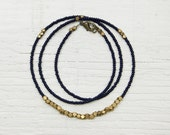 Beaded Necklace // Navy Blue and Brass // Everyday Collection