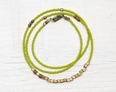 Everyday Necklace Beaded // Olive Green and Brass