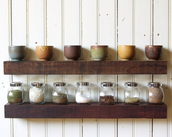 "Reclaimed Wood Floating Shelves // Set of 2 // 24"" Rustic Tropical Hardwood // In Stock"