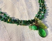 The Green Man - Triple Strand Charm Necklace