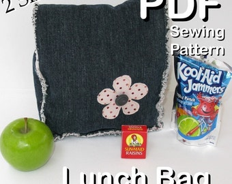 Raggedy LUNCH BAG Sewing Pattern PDF - Quick and Easy to Make - Free Shipping - 2 Sizes - Sale Price