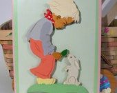 RESERVED FOR BBSTONE Dutch Boy and Rabbit Picture - Springtime Nursery Decor