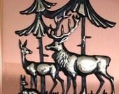 Copper Deer Art - Vintage Woodland Plaque in Gold and Black