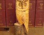 Folk Art Owl - Vintage Handcarved  and Woodburned 1970s