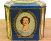1953 Royal Coronation Tin - Queen Elizabeth II and Prince Phillip