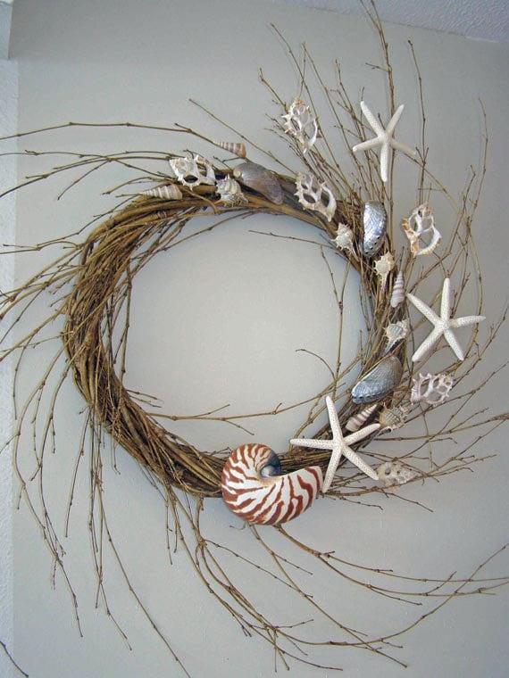 "BEACH DECOR SEASHELL Wreath -- ""Floating Shells,"" beach decor, floating starfish"