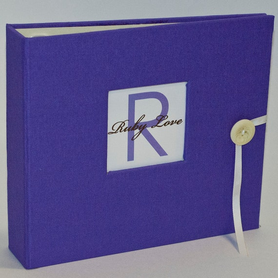 NEW... GIRL Modern Baby Memory Book . Solid Vibrant Purple Album