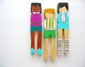 handmade wooden folk art LARGE clothespin dolls .. we like frills