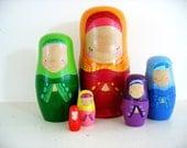 handmade wooden folk art nesting dolls... modest girls