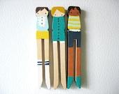 handmade wooden folk art  clothespin magnets ... misty morning girls