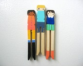handmade wooden folk art  clothespin magnets ... buttoned up girls