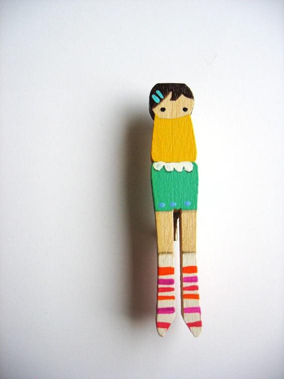handmade wooden folk art mini clothespin brooch ... mathilda