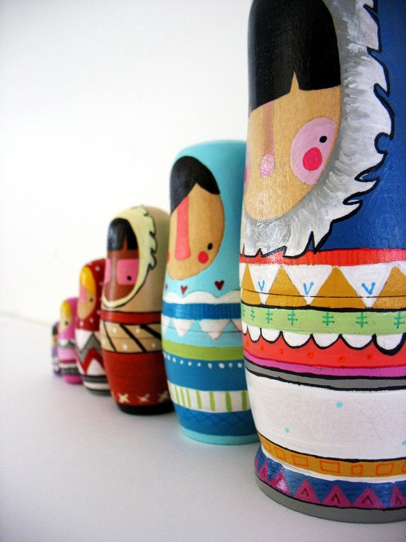 handmade wood folk art nesting dolls... wool sweater Eskimos