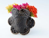 Ceramic  wall pocket black flower hanging vase