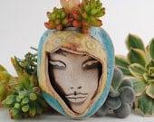 wall planter garden art mask ceramic plant pocket face