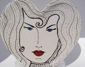 ceramic plate heart dish 1920s inspired art deco woman portrait plate
