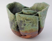 ceramic stoneware bowl warped  green undulating meditation bowl