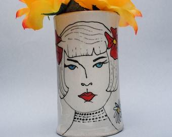 ceramic vase flower vase bud vase 1920's art deco lady