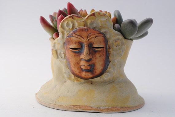 Garden Planter Pot Buddha Art Head Plant Ceramic Flower Yellow