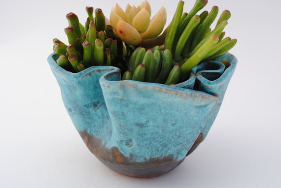 ceramic garden planter pot small garden plant bowl turquoise blue