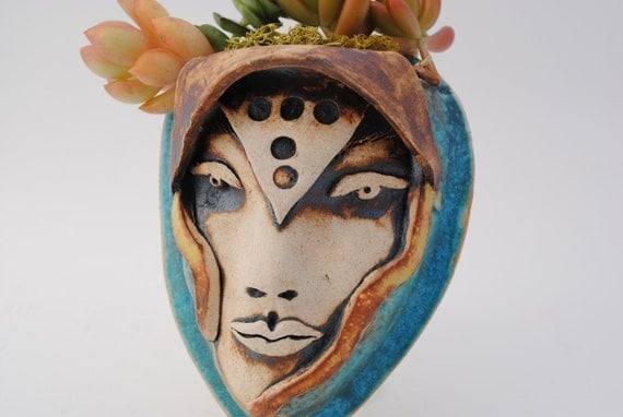 ceramic wall planter garden art mask face planter plant pocket