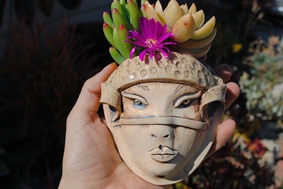 Ceramic Face Planter Garden Pocket Wall Decor By